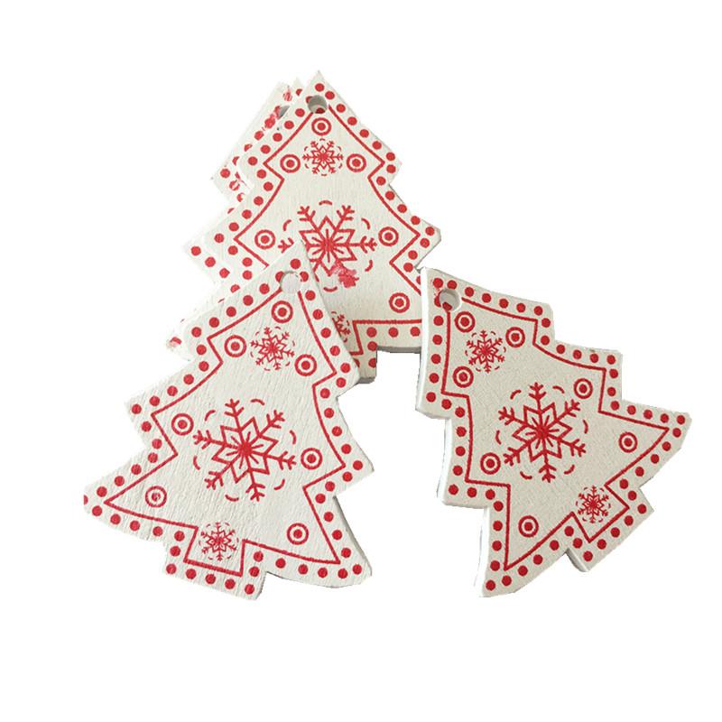 New Year 2020 Christmas Snowflake Wooden Pendant Xmas Tree Decorations for Home Wood Hanging Crafts Navidad 2019 Noel Natal Deco 19