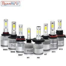 Braveway h1 светодиодные фары для авто h4 h7 h8 h9 h11 hb3 hb4
