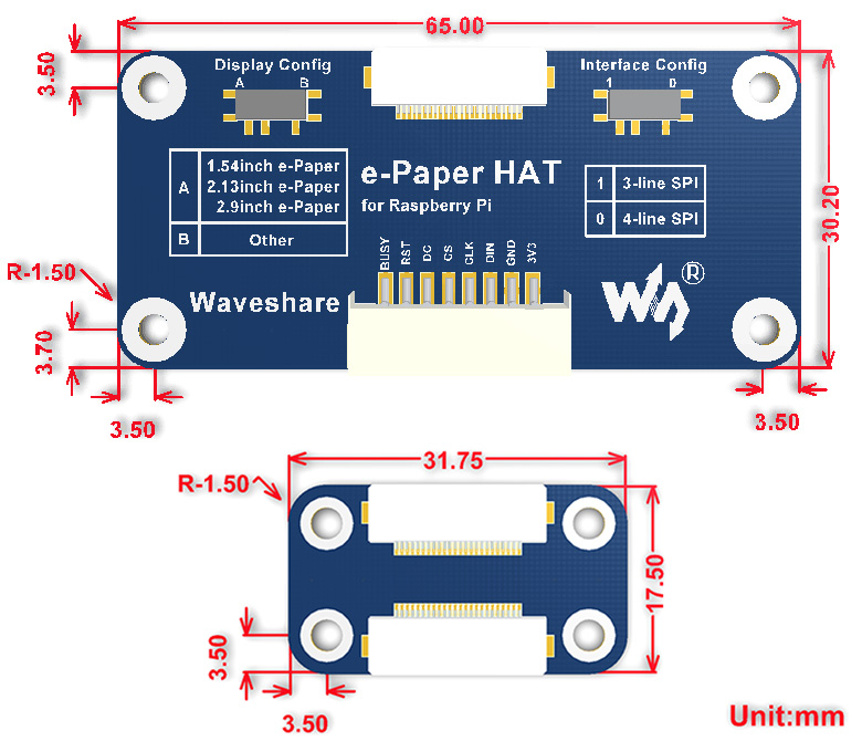 Universal e-Paper Raw Panel Driver HAT Waveshare Display Arduino Raspberry Pi