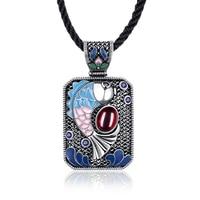 ERLUER Fashion Antique Silver Plated Blue stone Austrian Crystal Vintage Square Enamel Statement Necklace Fish Charm New Pendant