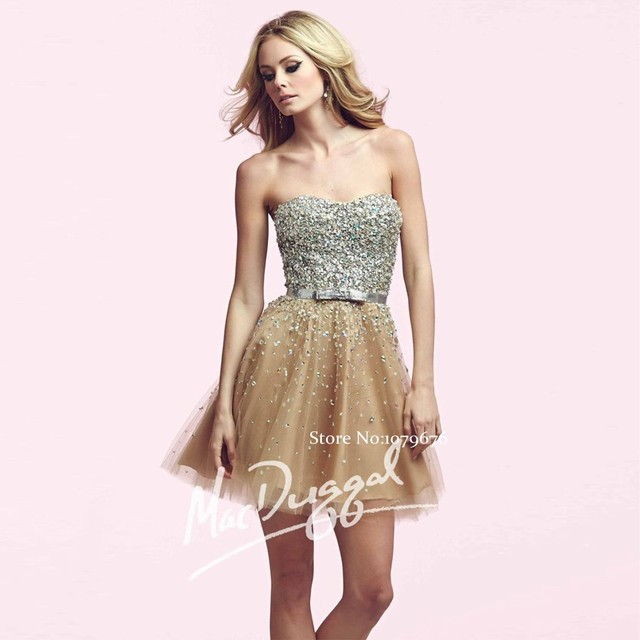 Brand Design 2016 Sweetheart Luxury Gold Cocktail Dresses Short A-Line  Tulle Crystal Dress Prom Gowns For Ladies Party DSC006 7721921fa424