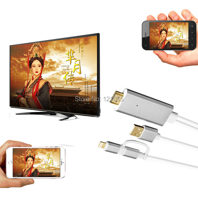 2 em 1 adaptador hdtv para iphone 7 plus 6 s 6 5S 5 hdmi cabo mhl android micro usb/apple samsung s7 s6 s5 caixa do telefone móvel para tv