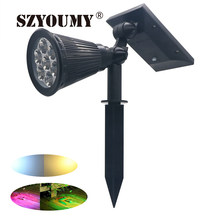 SZYOUMY 7 LED Auto Color-Changing Solar Spotlight Outdoor Lighting Solar Powered Security Landscape Wall Light Outdoor Garden(China)