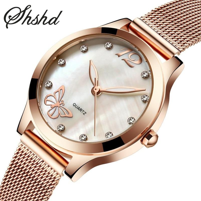 ФОТО Fashion Brand Ladies Dress Watch Diamond Women Watch Bracelet Wristwatch Rose Gold Mesh Strap Clock Women Luminous Montre Femme