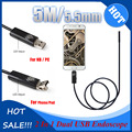 Hot Sale 2In1 Android & PC Snake Endoscope  5M/16.4FT 5.5mm 6 LEDs Waterproof Borescope Micro USB Inspection Video Camera