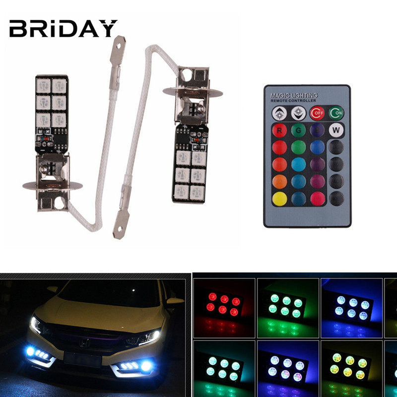 1 pair H3 RGB LED Headlight fog light car led 12 smd Bulb  Driving Light Daytime Running Lights remote control car-styling 12v free shipping hot selling 720p 20m ir range plastic ir dome hd ahd camera wholesale and retail