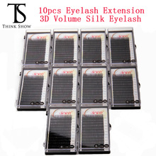 Thinkshow 10Pcs Individual Silk Volume Rusland 3D Lash Korea Slik Handmade Eyelash Extension Makeup Eyelashe