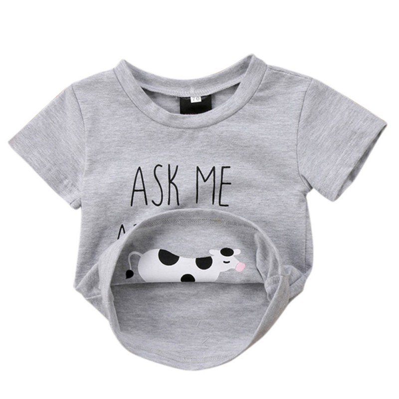 Boys T-shirt Novelty Ask me about My Moo Cow Letter Funny Kid Boy Short Sleeves Toddler Tops T Shirt Tees Inside Cow Clothes