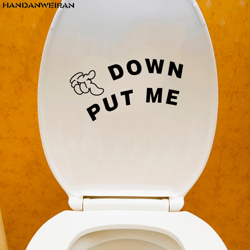 PUT ME DOWN gesture Toilet sticker Bathroom creativity Wall stickers with personality