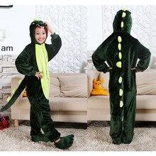 Kiqoo Children's One Piece Long Sleeve Hooded Flannel Animal Pajamas Kids Dinosaur Sleepwear Cosplay Costumes Funny Homewear