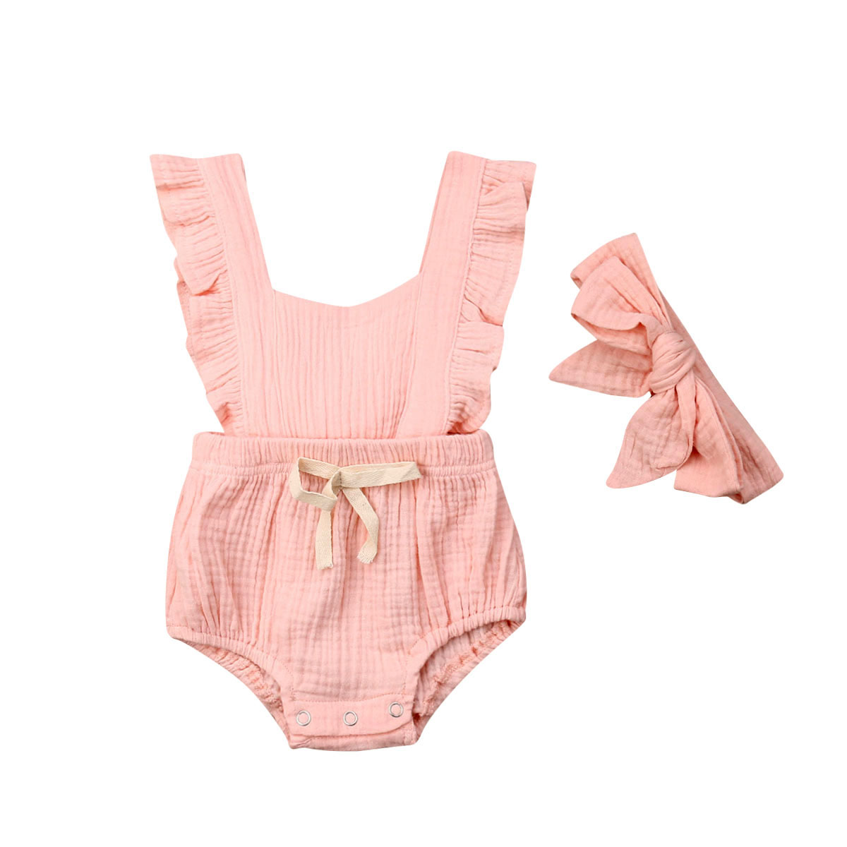 Newborn Baby Girl Cotton Linen Romper Flutter Sleeve One-Piece Jumpsuit Solid Drawstring Waist Outfits Clothes with Headband