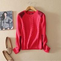 Свитер Для женщин зима 2018 100% чистый кашемировые свитера красный тянуть роковой Вязание ребристые толстые теплые Повседневное Tricot Для женщи