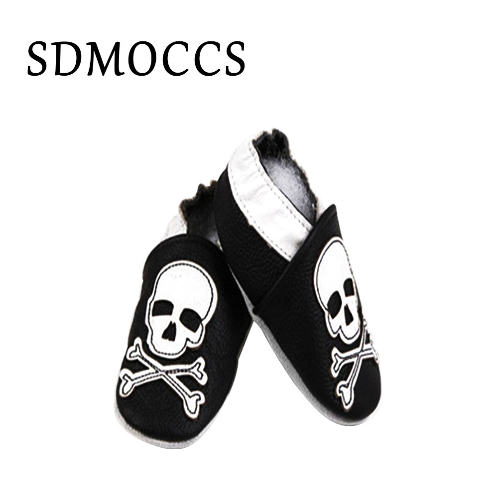 SDMOCCS Brand 100% soft soled Genuine Leather baby shoes Skull Design boys girls shoes 0-6 6-12 12-18 18-24M FTD002