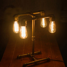 Loft American Industrial Style Personality Pipe Desk Lamp Table Light Edison Light Source For Study Working