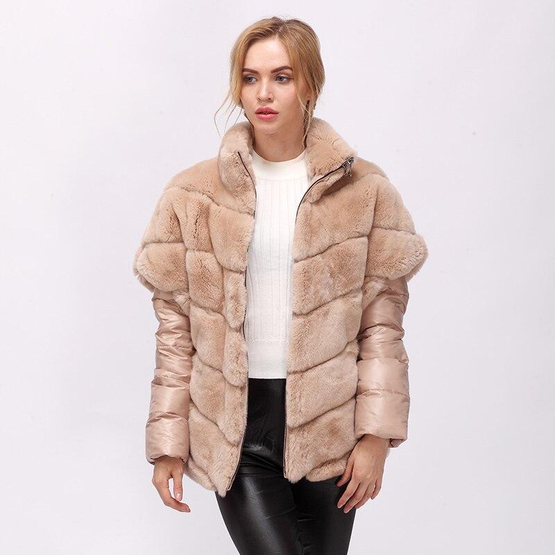CNEGOVIK Court réel de fourrure de lapin veste femmes de fourrure réel manteau rex lapin manteau de fourrure véritable