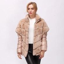 Cnegovik Женская меховая куртка из натурального меха кролика рекса с отстегивающимися рукавами! Новая модель Короткие женские шубы из кролика рекс