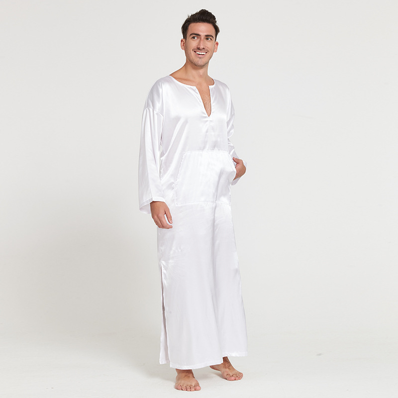 3a5cdf30cb Easy Time men summer silklike long sleeve pullover homewear bathrobes male  sleepwear