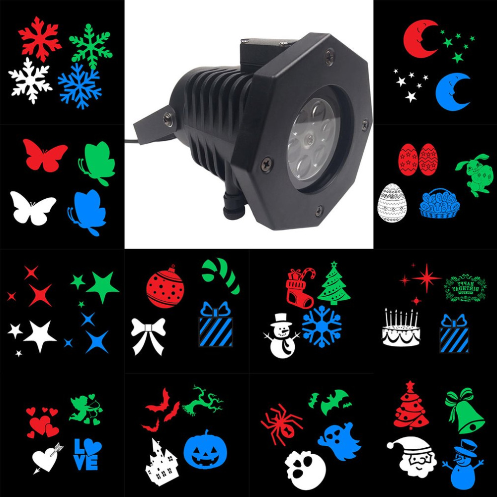 Outdoor LED Lawn Lamps Laser Spots Projector Waterproof 12 Cards Party Light Christmas XmasSnowflake Lights US/EU/UK/AU Plug free shipping us plug outdoor ip65 waterproof stage light christmas lights xmas light projector christmas uk us eu plug xx