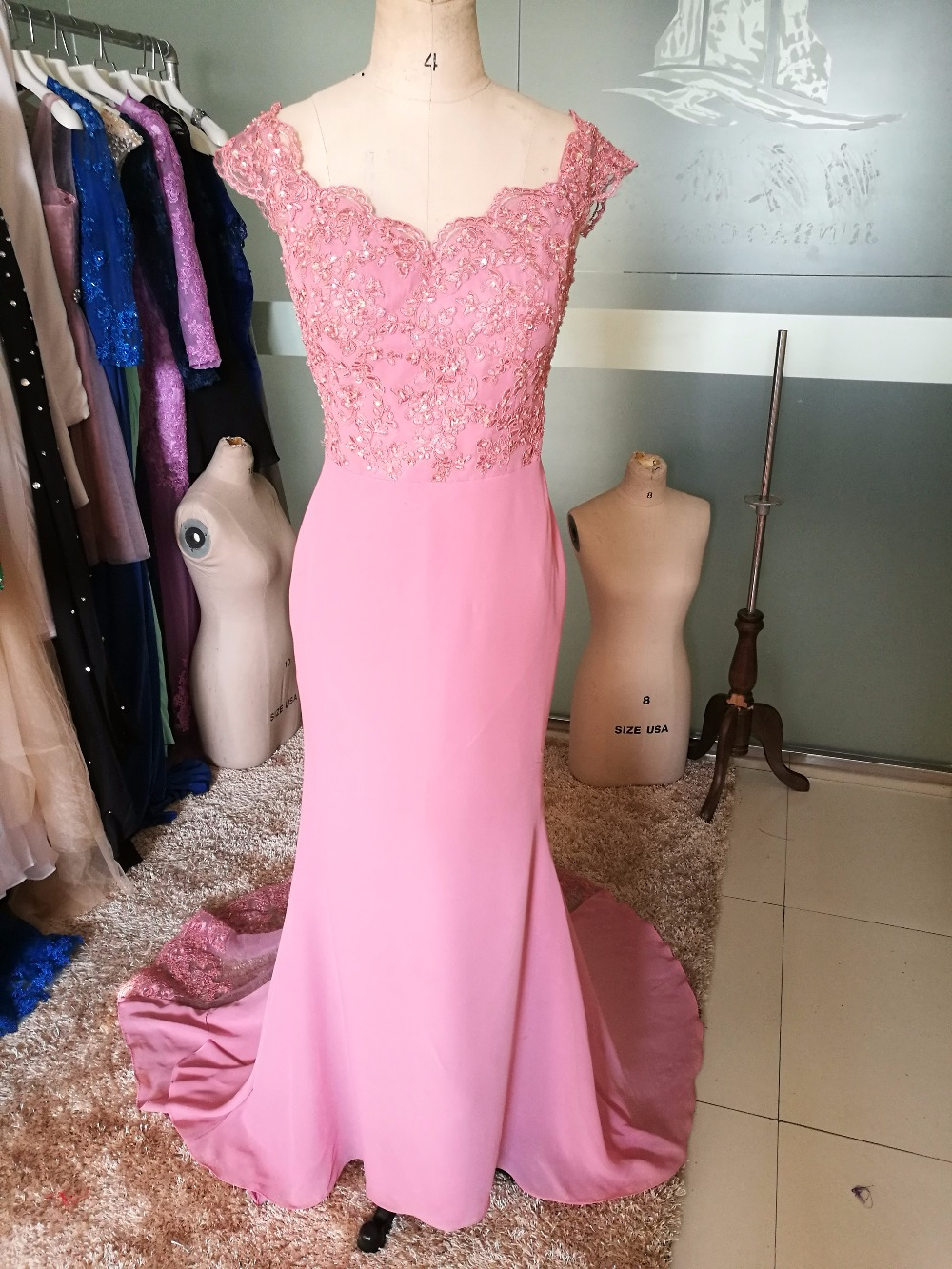 Blush Pink Cap Manga Vestido de Fiesta Sirena Barrer de Tren vestido ...