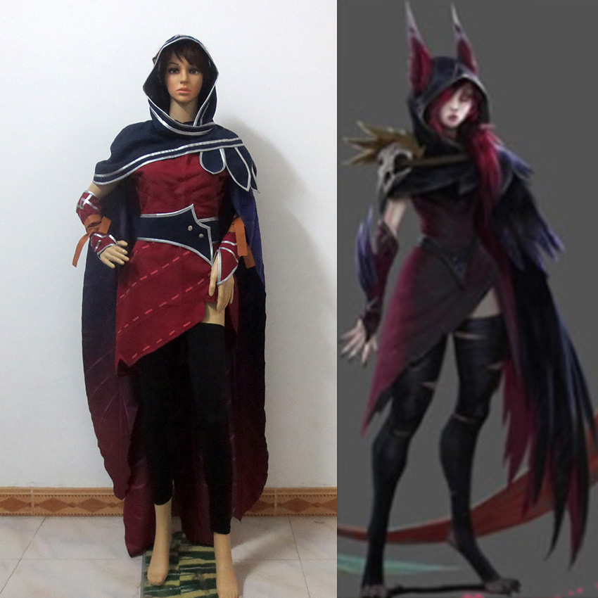Christmas Party Dress Up Games: Game LOL New Hero Xayah Red Cosplay Dress Set With Cloak