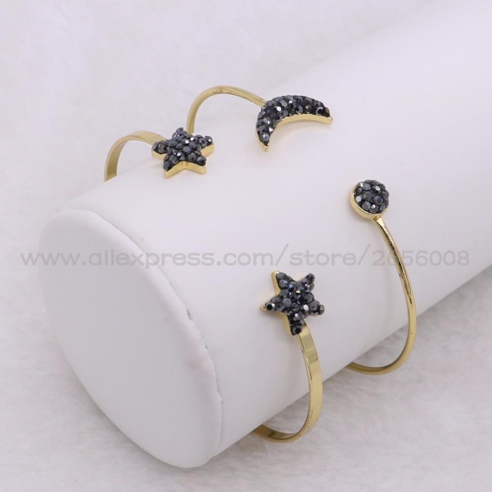Trendy bangle Bracelet Moon&star bracelet Cubic Zircon Gold color slim cuff metal bangle women jewelry fashion bangle 2086