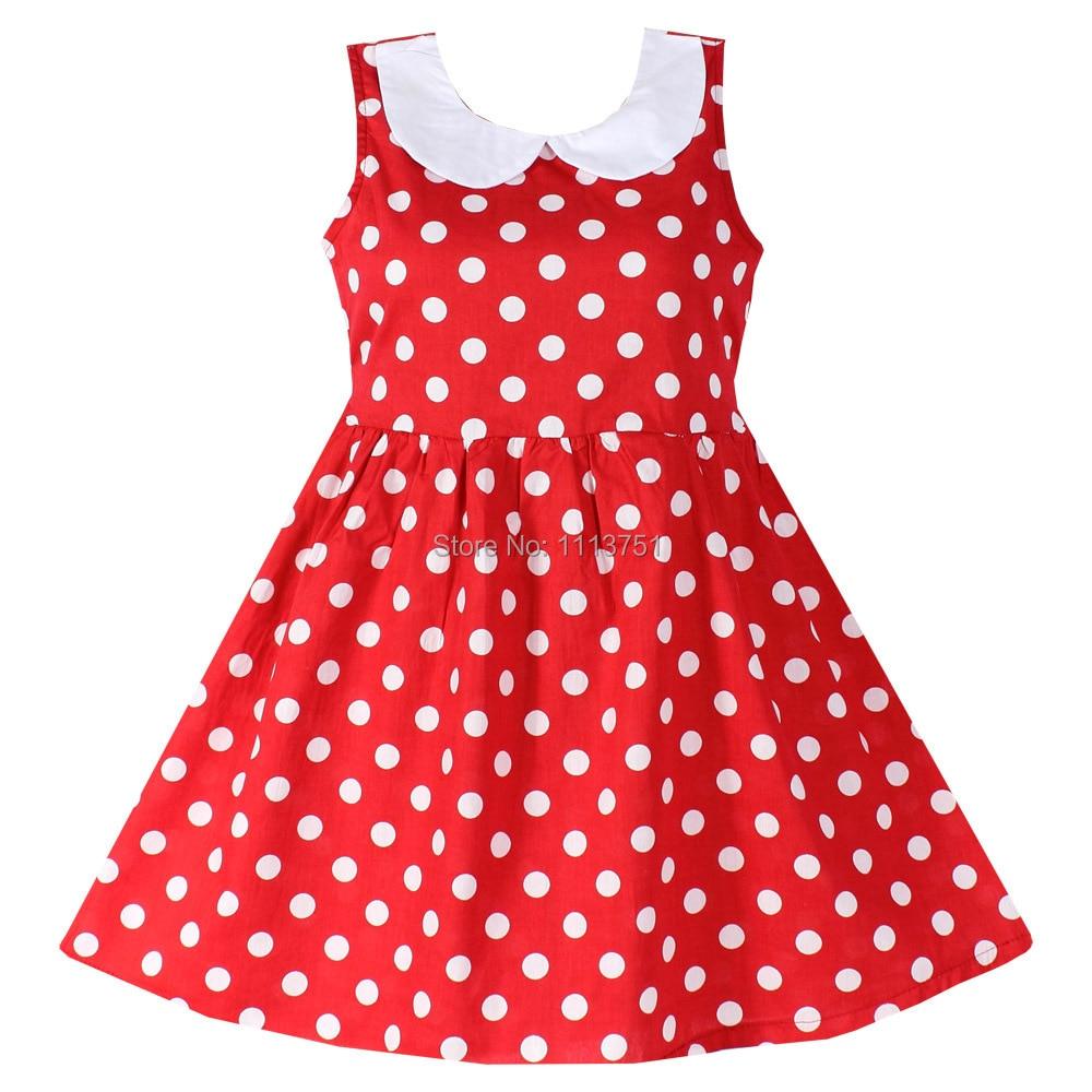 Shybobbi New Girls Dress Red Dot  Collar Party Birthday Lovely Baby Child Clothes 100% Cotton