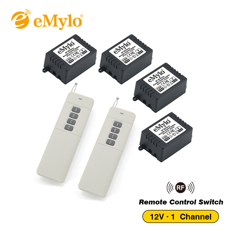eMylo 12V Smart Swich RF Wireless Remote Control Switch, Light Switch 433Mhz White Transmitter 4X 1 Channel Relays Toggle Switch emylo 4x 220v 1000w 1channel 433mhz wireless rf realy remote control switch receiver with transmitter