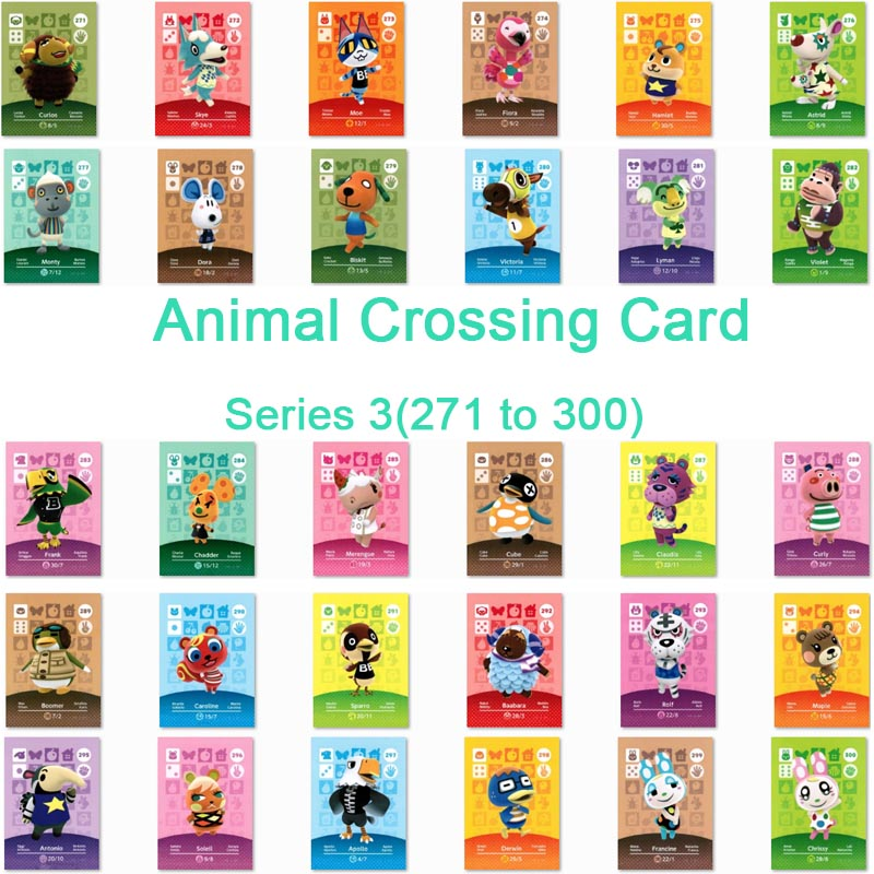 <font><b>Animal</b></font> <font><b>Crossing</b></font> <font><b>Card</b></font> <font><b>Amiibo</b></font> <font><b>Card</b></font> Work for NS Games Series 3 (271 to 300) image