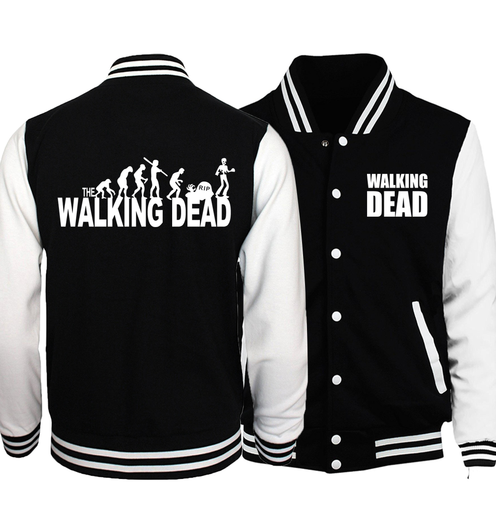 The Walking Dead Jacket Men Wing Print Coat Hip Hop Baseball Uniform 2018 Spring Autumn Black White Plus Size 5XL Mens Jackets