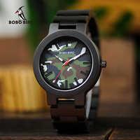 BOBO BIRD Men Wood Timepieces Luxury Stylish Ebony Male Quartz Watches Military Chronograph In Gift Box relogio masculino V-R16