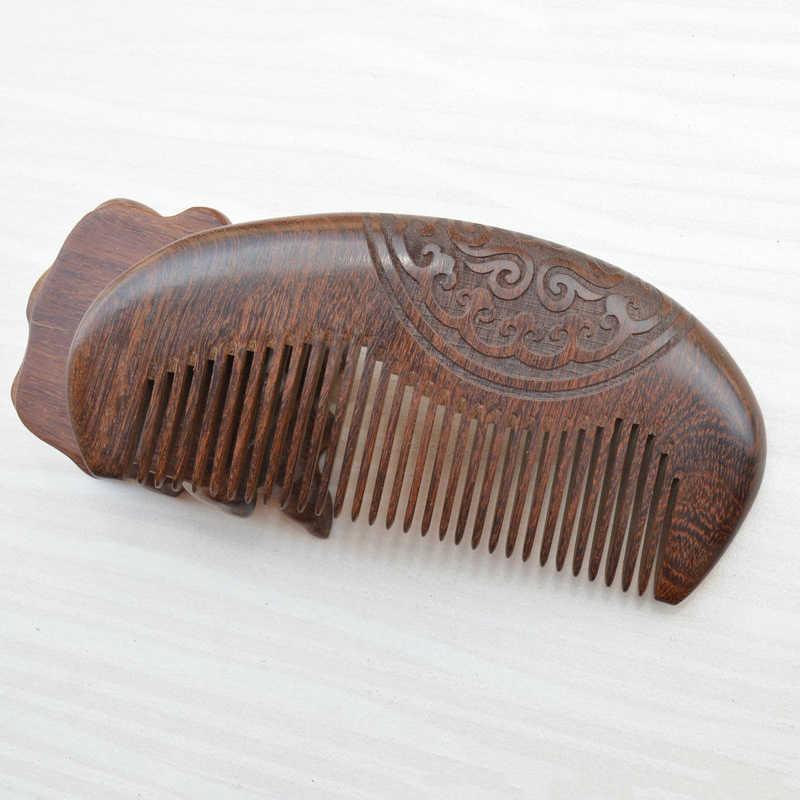 Ahşap antika oyma tarak ahşap tarak statik biti sakal tarağı saç şekillendirici doğal yeşil sandal ağacı süper dar diş