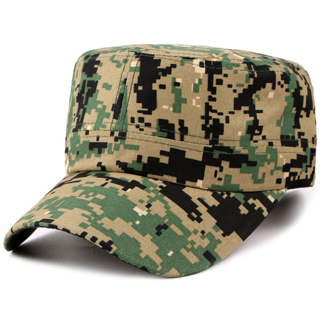 0aa5338991e Adjustable Men s Flat Top Army Green Hat Digtal Military Cap Head  Circumference 58cm Summer