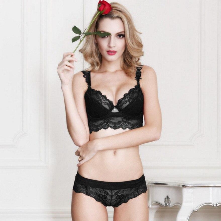 ad73662117 Women s sexy bra set lace underwear adjustable thin cup lingerie set flank  wide womens bras and underwear sets-in Bra   Brief Sets from Underwear ...