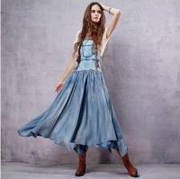 Hot sale high quality fashion brand retro vintage 100% cotton halter bra denim dress female big swing strap dress wq1865