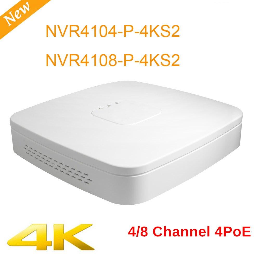 DH 8chl NVR4104-P-4KS2 NVR4108-P-4KS2 4 k alta definição 4ch NVR Inteligente 1U 4PoE H.265 Lite Network Video Recorder cctv sistema