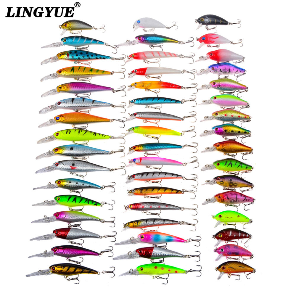 New 48pcs lot Fishing Lures Mixed 5 Model Minnow Lure Artificial Quality Professional Crankbait Wobblers Fishing Tackle pesca 30pcs set fishing lure kit hard spoon metal frog minnow jig head fishing artificial baits tackle accessories