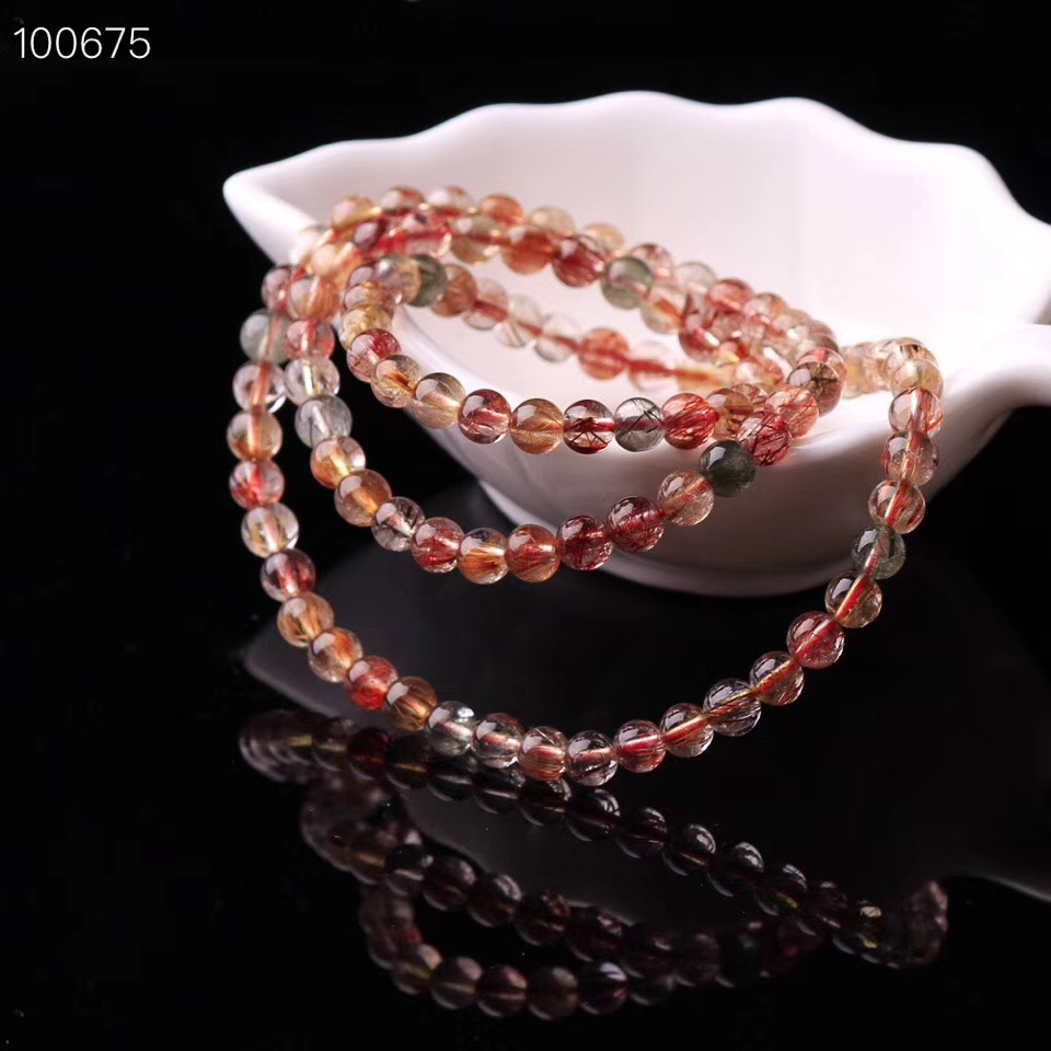 Newly Natural Copper Rutilated Quartz Colorful Crystal Bracelet Women 3 Laps Round Beads Wealthy Stone Necklace 6mm 7mm AAAAA