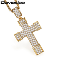 Davieslee Iced Out CZ Cross Pendant Necklace For Men Stainless Steel Rope Chain Silver Gold Tone
