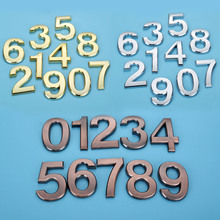 Plastic Sliver House Number 70mm 0/1/2/3/4/5/6/7/8/9# Plaque Hotel Door Address Digits Sticker Plate Sign