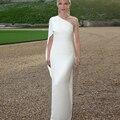 Car-Styling Red Carpet Vestidos de La Celebridad Kim Kardashian 2017 Blanco de Un Hombro de Satén de Las Mujeres Del Verano Vestidos de La Celebridad