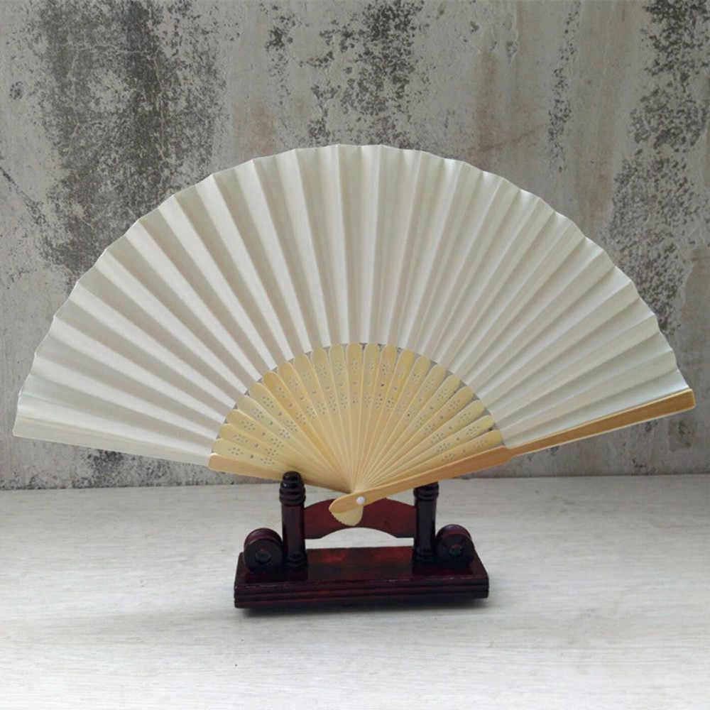 Hot Sale Pattern Folding Dance Wedding Party Elegant Paper Hand Fan Favors Lace Silk Hand Held Solid Color Fan Plastic rib 21cm