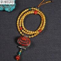 Nepal Handmade Old 925 Silver Necklace Gau Box Pendant Necklace Mila Bohemia Women Necklace Buddhist 108 Prayer Beads