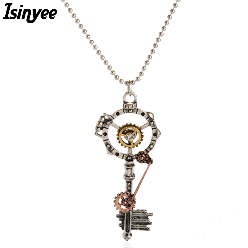ISINYEE Fashion Crystal Key Heart Anchor Pendant Beaded Chain Steampunk Վզնոց Vintage Steam Punk զգեստների զարդեր կանանց համար
