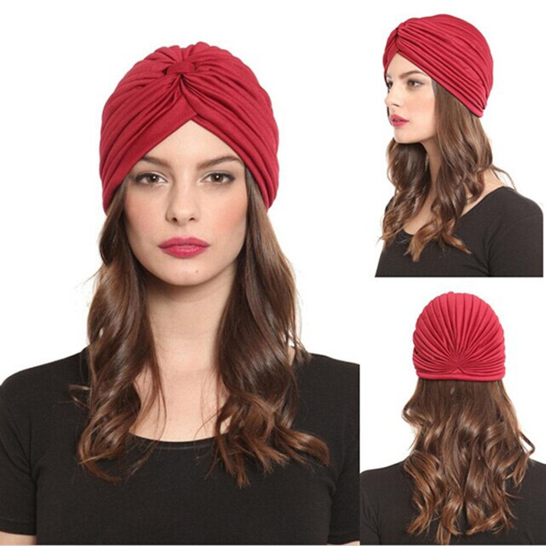 Stretchy Turban Muslim Hat Bandanas Headband Wrap Chemo Hijab Knotted Indian Cap Ethnic Solid Color Bandanas Harajuke Headwear