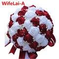 Перевозка Груза падения Рамос Де Novia Фиолетовый Красный Белый Кристалл Свадебный Букет Пользовательские Искусственный Цветок Невесты Свадебный Букет W224A