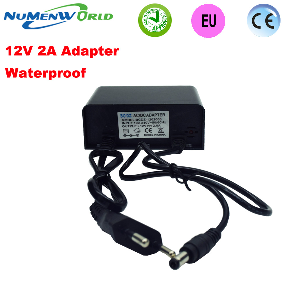 Waterproof outdoor Power supply adapter EU European plug for CCTV camera IP camera DVR,input AC100-240V output DC12V2A Converter security uk us eu au 12 volt 1 amp power supply power adapter for cctv ir infrared night vision lamp dvr systems camera