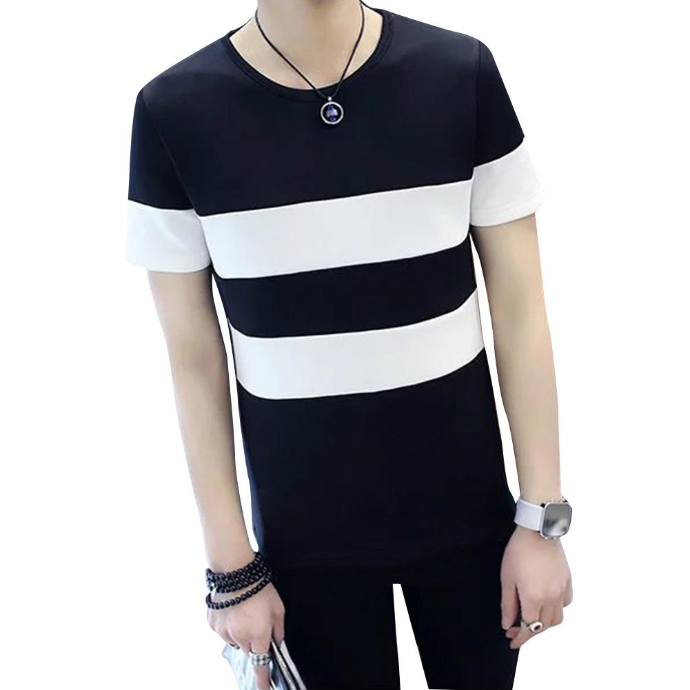 ZACOO Men Short Sleeve T-shirt Round Collar Stripes Pattern Casual Tops