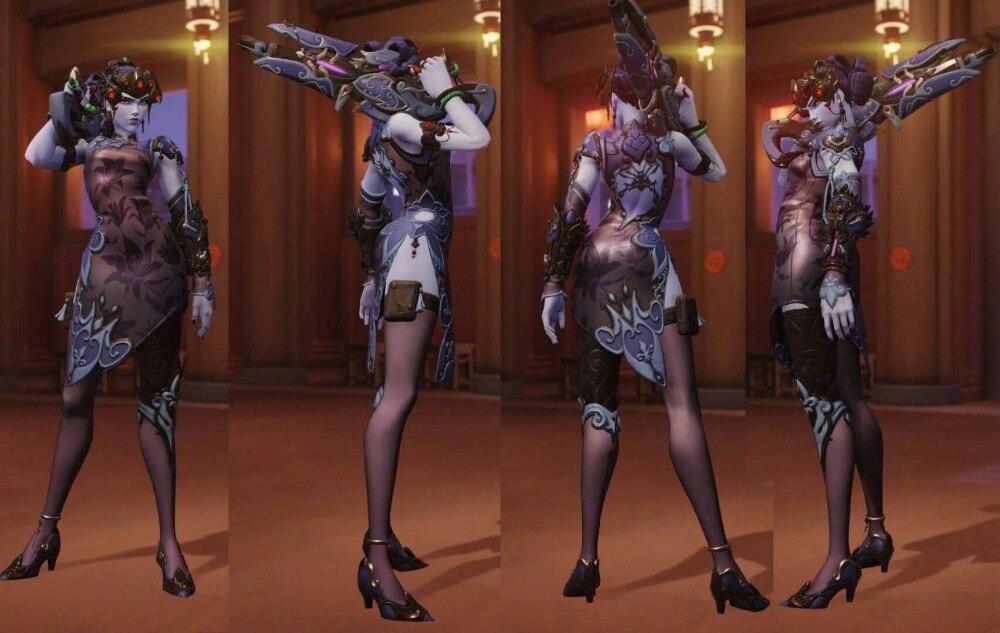 widowmaker new skin Black Night lily cosplay costume custom made/size Full Set 1