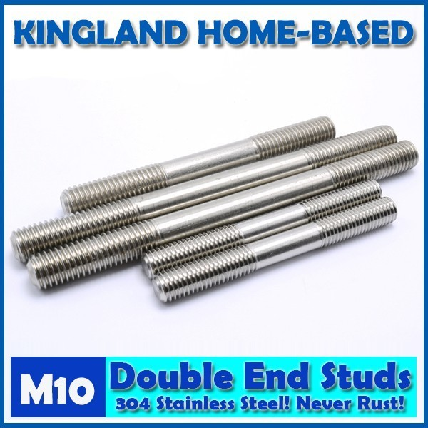 M10 Double End Studs 304 Stainless Steel Double End Thread Tight Adjustable Push Rod Stud Screw Bolt Silver Ton 3pcs m8 100mm m8 100mm thread length 30mm 304 stainless steel dual head screw rod double end screw hanger blot stud
