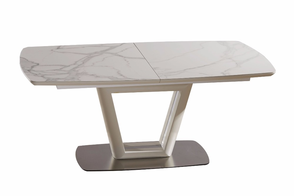 Fancy-Fix Glass folding dining table for kitchen half Auto butterfly Fashion modern design foldable kitchen table marble